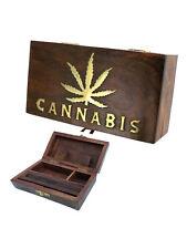 "Wooden Rolling Box  - ""Cannabis Leaf"" Design - Medium -  Free UK P&P"