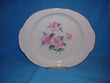 Camwood Ivory Ceramic Serving Platter Chop Plate Pink Flower 22 Carat Gold Rim