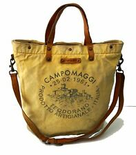 CAMPOMAGGI Oversized Yellow Canvas Leather Trim Reversible Tote Bag UNISEX
