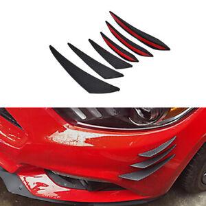 6pcs Carbon Fiber Look Front Bumper Lip Splitter Fins Body Spoiler Canards Trims