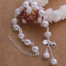 2018 Women's 925 Sterling Silver Hollow Beads Chain Bracelet Bangle Jewelry Gift