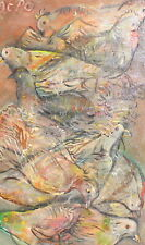 VINTAGE ABSTRACT MODERNIST OIL PAINTING BIRDS SIGNED