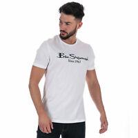Mens Ben Sherman Large Logo Print T-Shirt In White- Short Sleeve- Ribbed Collar