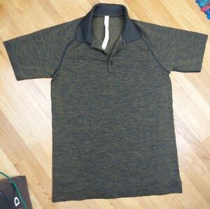 Lululemon Vent Tech Polo Shirt Men's Small Heathered Green Stretch
