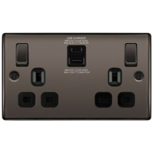 BG Electrical Fast Charge 13A Double Switch Socket Type A/C Charger Black Nickel