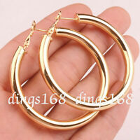 "18K Yellow Gold Filled Round 50MM/2"" Large LIGHT WEIGHT Hoop Fashion Earrings H7"