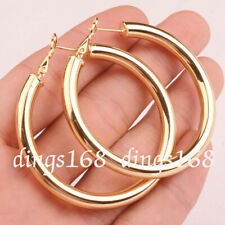 Women's 18K Yellow Gold Filled Classic eXtra-Large Hoop Fashion Earrings H7-80mm