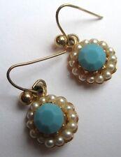 boucles d'oreilles percées couleur or perles turquoise nacrées bijou vintage 391
