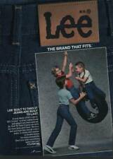 1984 Lee Jeans Vintage Print Ad Page Cute Kids Playing Boys Girl Tire Swing