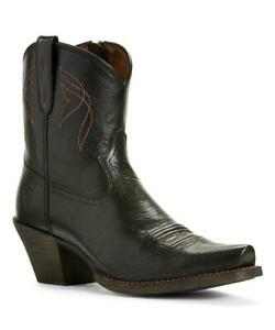 New NIB Ariat Black Jackal Lovely Leather Boots Snip Toe Western Embroidery 9.5