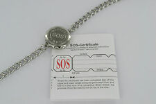 SOS BRACELET MEDICAL ALERT/EMERGENCY/SILVER MENS LADIES STAINLESS STEEL TALISMAN