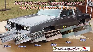 1981-1988 OLDS OLDSMOBILE CUTLASS 442 WHITE CHROME BODY SIDE MOLDING TRIM
