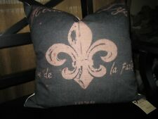 """French Decor:  Down Filled French Print Pillow w/ zippered cover ~16.5"""" X ~16.5"""