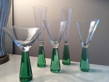 Mcm Modern Contemporary Champagne Wine Martini Glasses Green Faceted Art Stems