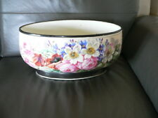 grand cache pot ou jardinière ancienne en porcelaine à décor de fleur