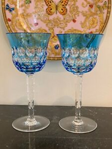 Waterford Crystal Simply Blue Water Goblet Glasses Set of 2