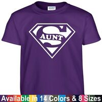 SUPER Auntie Mothers day present gift Ladies kids Crew neck T Shirt blue black