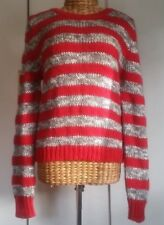 Witchery red grey striped  wool alpca blend jumper EUC size 16