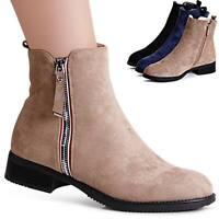 Damen Velours Stiefeletten Halbschuhe Booties Ankle Boots Stiefel Warm