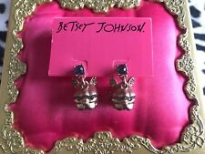 Betsey Johnson Pet Shop Bull Dog Pit French Frenchie Bronze Bust Earrings RARE