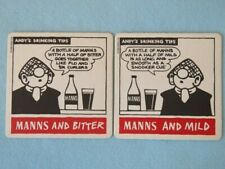 Beer Bar Coaster ~**~ MANNS Stout & Bitter ~ Andy's Drinking Tips ~ Snookers Cue
