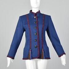 Medium 1980s Yves Saint Laurent Rive Gauche Blue Wool Jacket Pockets VTG Trim