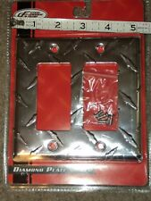 METAL DIAMOND WALL PLATE LIGHT SWITCH COVER  OUTLET CHROME DOUBLE ROCKER NEW!