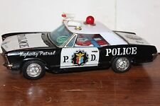 NICE BANDAI TIN  BATTERY OPERATED BUICK RIVIERA  HIGHWAY PATROL  POLICE CAR