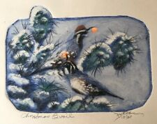 Roy Purcell Arizona Christmas Quail Hand Colored Etching Southwest COA 10/30