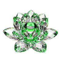 LARGE GREEN CRYSTAL LOTUS FLOWER ORNAMENT WITH GIFT BOX  CRYSTOCRAFT HOME NEW_UK