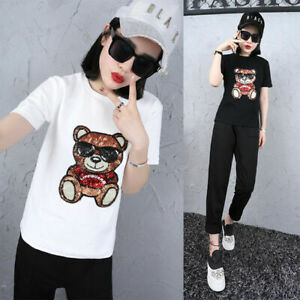 Teddy Bear Cartoon Sequins Embroidered Patches Sew on Cloth Bags Jeans Applique