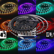24V 5M RGB LED Strip Light Kit Black PCB Tape Remote & Adapter Colour Changing