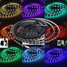 24V 5M RGB LED Strip Light Kit Black PCB Tape Remote & Adapter Colour Changing