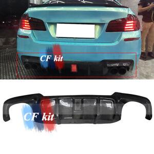 Carbon Fibre V Style For BMW F10 M5 Rear Bumper Lip Lower Diffuser + Pilot Lamp