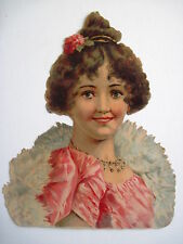 Charming Vintage Die-Cut of Lady with Diamond Necklace and Pink Dress *