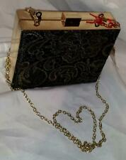 Kelly Brook Black Clutch with Gold Embroidery, Frame & Chain Strap BNWT New Look