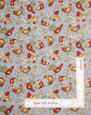 Rooster Hen Fabric - Chicken Egg Toss General Fabrics Gray-Blue Tonal 2 Pieces
