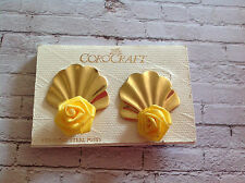 Vintage gold tone clam shell shape COROCRAFT earrings yellow roses
