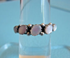 Vintage PINK MOTHER OF PEARL STERLING SILVER BAND RING Size 6 MOP Artisan Estate