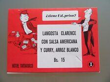 MENU CARTE RESTAURANT VERS 1966 CARACAS VENEZUELA LA CABANA HOTEL TAMANACO
