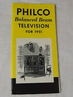 """PHILCO Balanced Beam TELEVISION models for 1951  18 x 12"""" pamphlet"""