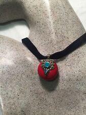 Compressed Coral Resin Pendant Bronze Vintage Tibetan Necklace