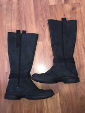 EUC Women's Merrell Mid Calf Tall Boots Size 7.5 Black Leather Zip Up Waterproof