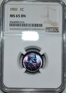 NGC MS-65 BN 1931-P Lincoln Cent, Beautifully toned specimen.