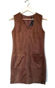 NWT Mossimo Extra Small Solid Brown Faux Suede Sleeveless Pocket Dress