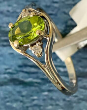 14kt White Gold Ring with Peridot & Diamonds