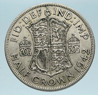 1942 Great Britain United Kingdom UK GEORGE VI Silver Half Crown Coin i83499