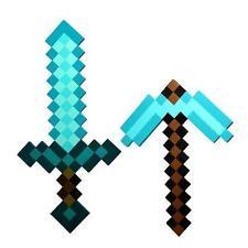 Sky Blue Role Play Prop Diamond EVA Foam Sword & Pickaxe Toy