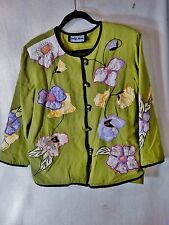 Indigo Moon M Women's Embroidered Jacket Green Floral
