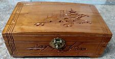 JAPANESE CYPRESS CARVED WOOD JEWELRY BOX HINGED LID WITH VELVET LINING + MIRROR
